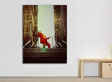 Cuadro Lienzo Joker Cartel pelicula 2019 - Lienzo de Tela Bastidor de Madera de 3 cm - Fabricado en España - Impresión en Alta resolución – Varias Medidas (37, 50): Amazon.es: Hogar
