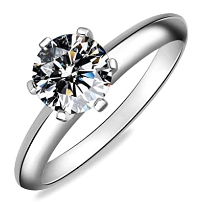 Meyiert 925 Sterling Silver Brilliant Round Cut Zirconia Eternity Promise Engagement Wedding Rings iGGVxJqq1