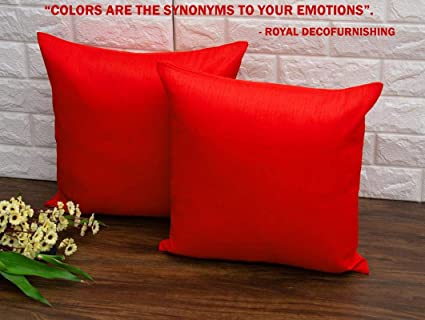 Royal DecoFurnishing Plain Solid Art Silk Superlative Red Cushion Covers  (20x20 inches, 50x50 Cms, Red) - Pack of 1