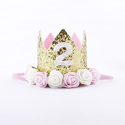 IMagitek 2nd Birthday Crown For Girls Baby Princess Flower Tiara Headband Party Hat Hairband
