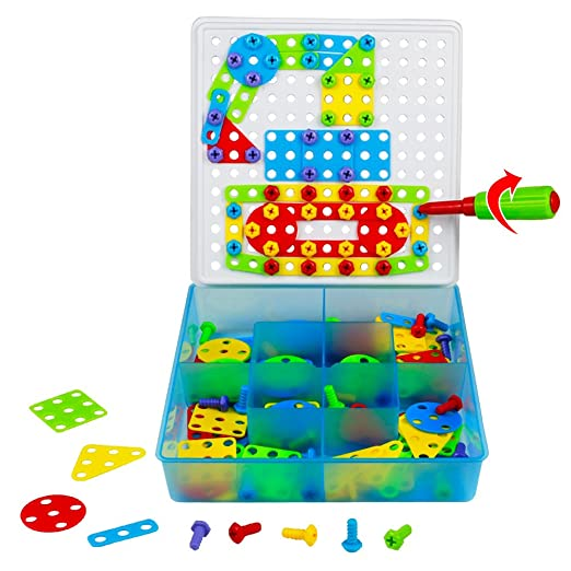 Mosaic Puzzle Game Toys Pegboard Building Blocks Construction Set with Screw and Nuts Creative Gift Toy for Kids Children Ages 3 Years and Up, 180PCS