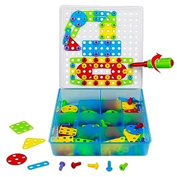 MUJIA Juguete Construccion Mosaicos Infantiles Figuras Geometricas Rompecabezas Plastico Bloques Juegos DIY Juguete Educativos Creativos para Niños Niña 3 4 ...