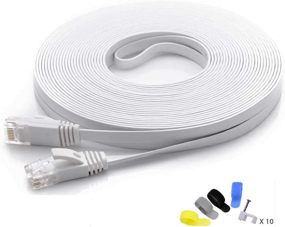 50 feet Black White Computer Cable with Snagless Rj45 Connectors AOFORZ Ethernet Cable Cat6 50ft Black Flat High Speed Internet Network Cable with Cable Clips 15 Meters