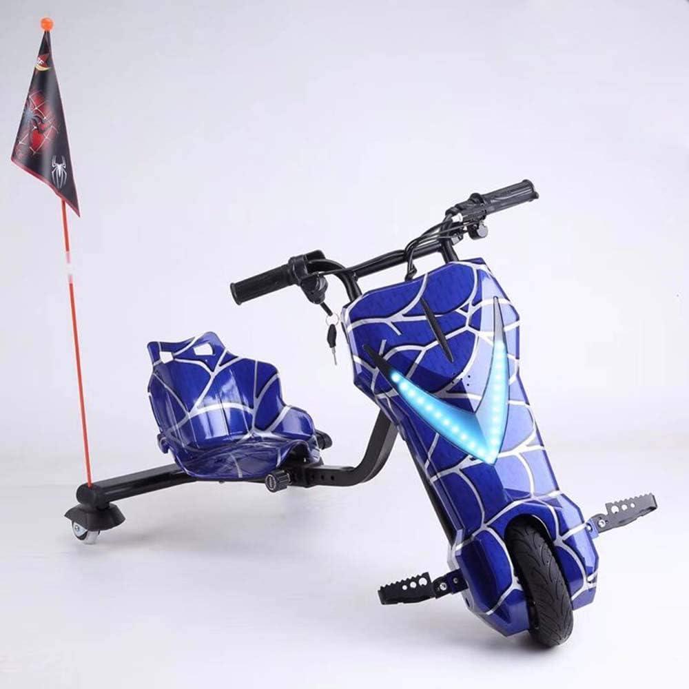 YIAIY Triciclo Eléctrico Drift, Juguete Eléctrico Kart Vespa De Los Niños Fresca 36V del Coche Eléctrico De 20 Km/H,Azul