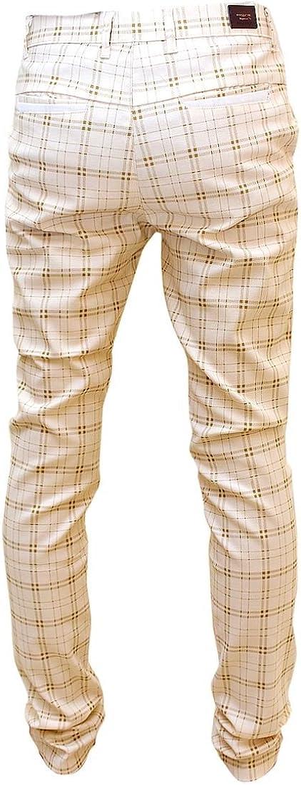 Comaba Mens Trousers Hidden Expandable-Waist Plaid Straight Dress Pants