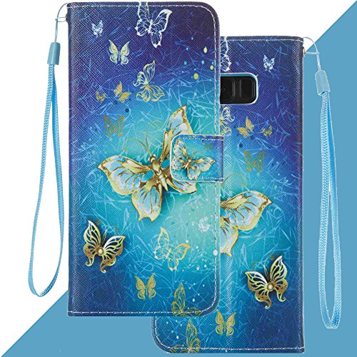 (Leather Wallet case for Samsung Galaxy S8 Plus, Anti Scratch Flip Cover with Card Holder Embedded Detachable Durable Magnetic Soft Back Kickstand case for S8 Plus (Blue)