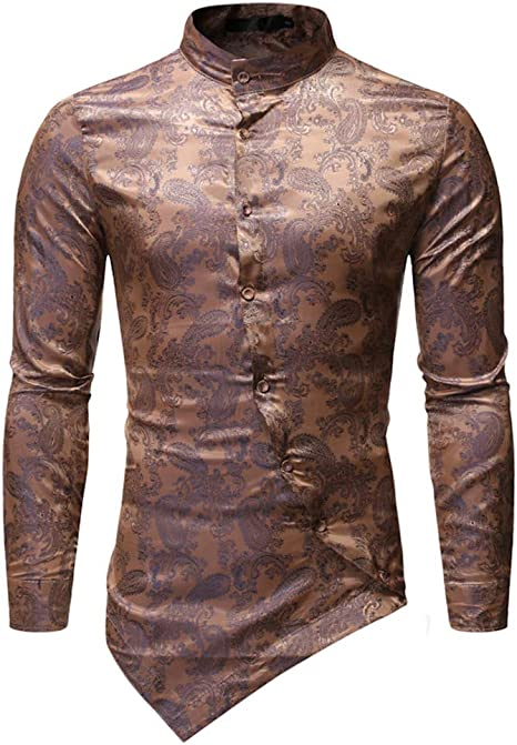 Biddtle Hombres Camiseta Floral Casual Botón Estar Collar Irregular Dobladillo Abajo Camisas Disco Partido Disfraz,Oro,XL: Amazon.es: Deportes y aire libre