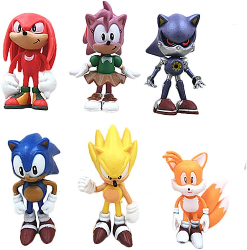 Amazon Com 6pcs Sonic Hedgehog Cake Topper Figures Characters Set Cake Decorations And Party Favors For Sonic Party Supplier Birthday Toys Games