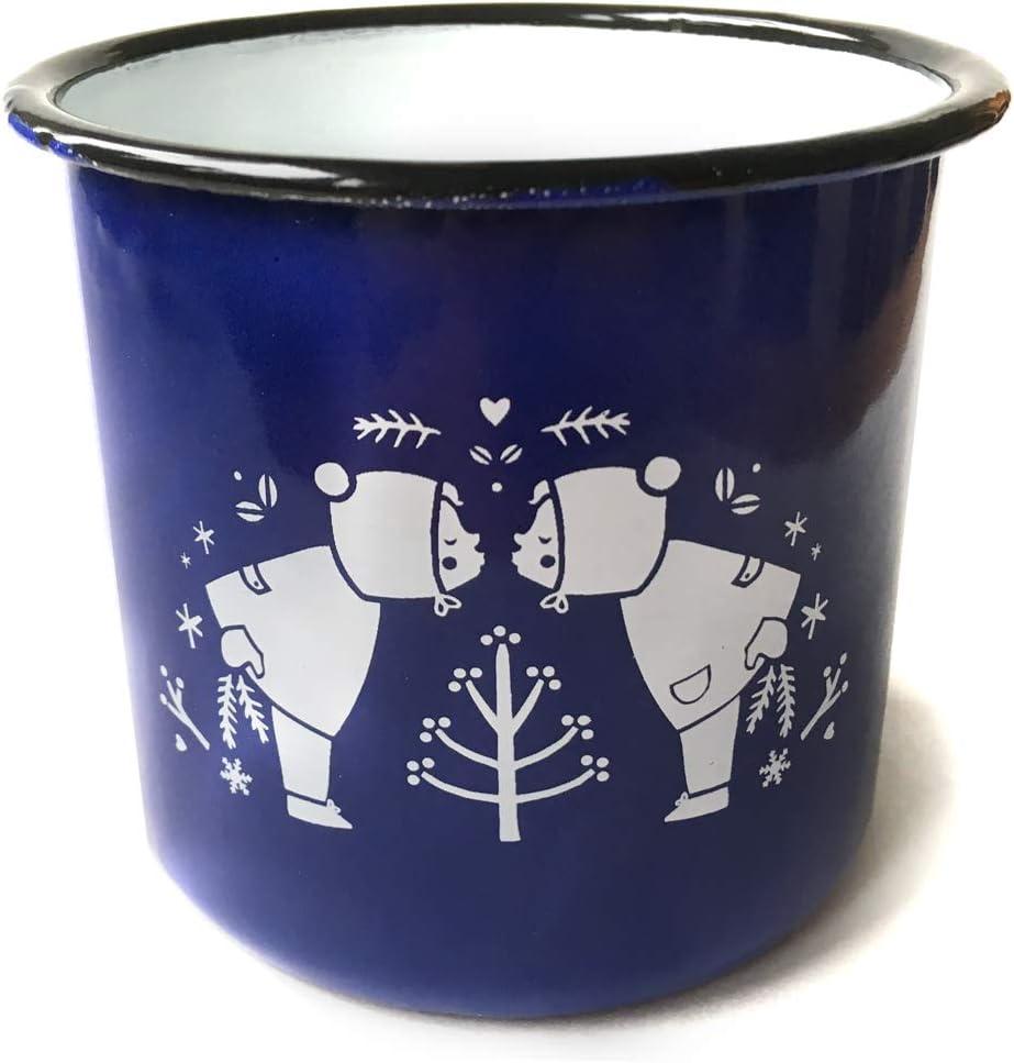 Kinderlampenland Gl/ühweintasse Emaille-Tasse Gl/ühweinzeit rot Weihnachtsmarkt Blechtasse Geschenk Henkeltasse Vintage Punschtasse