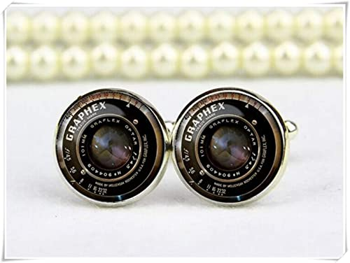 custom wedding silver plated or black cuff link Vintage camera lens personalized cufflinks CL04 cool photographer gifts for men