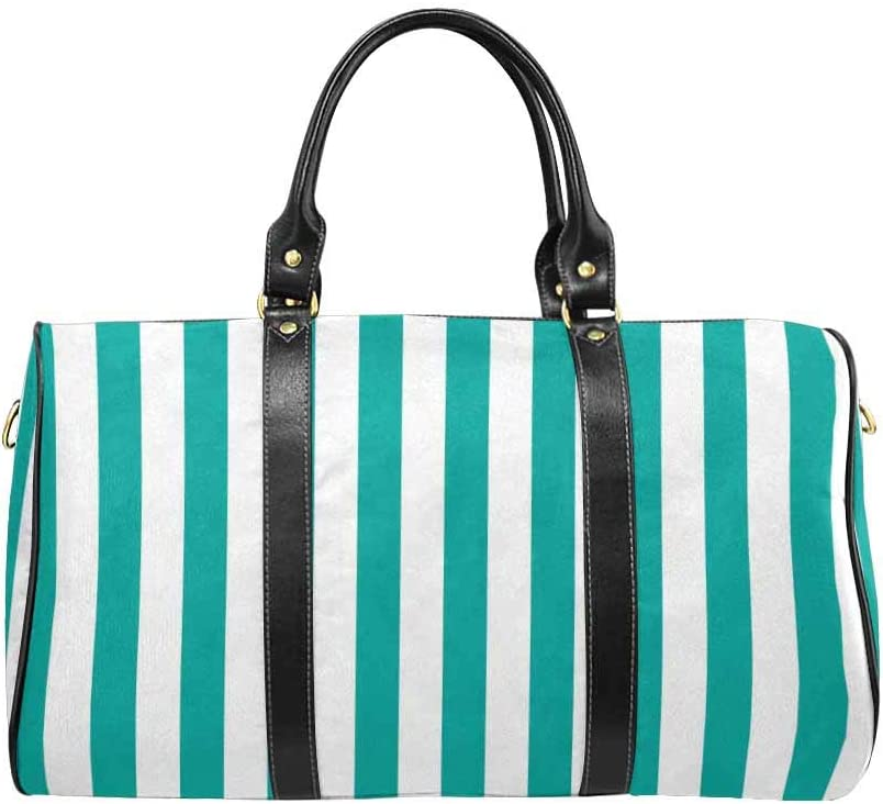InterestPrint Large Duffel Bag Flight Bag Gym Bag Stripe Pattern Stripe Green