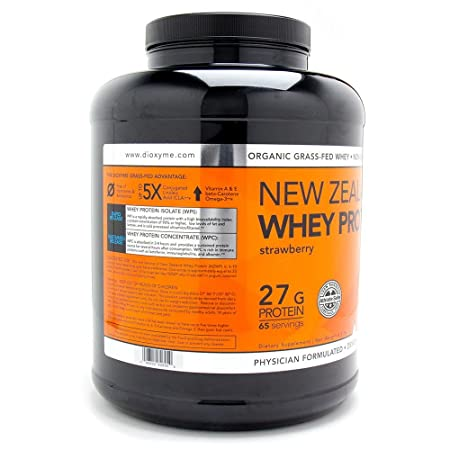Dioxyme New Zealand Grass Fed Whey Protein – Native Cold Processed Undenatured 100 Premium Whey Isolate and Concentrate – GMO-Free rBGH Free Soy Free Gluten Free – 5LB Tub Strawberry