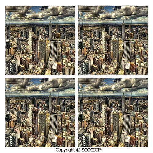 SCOCICI Set of 4 Placemats Polyester Custom-Made Washable Table Mats Melbourne Cityscape Modern Australia Architecture Buildings Metropolis Dramatic Sky Dining Table Kitchen Table Mats 12x12 Inch (Australia Outdoor Bamboo Furniture)