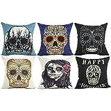 Halloween Decor Cushion Cover Skull Throw Pillow Case Protector...