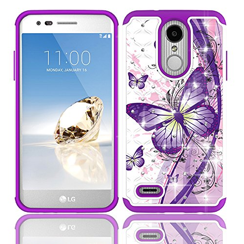 Phone Case for LG Rebel-4 / LG Zone-4 Case/Fortune-2 / Risio-3 / Aristo-2 / Aristo-3 Case/Tribute Dynasty/Tribute Empire Crystal-Dual-Layered Rugged Cover (Crystal Butterfly with Purple)