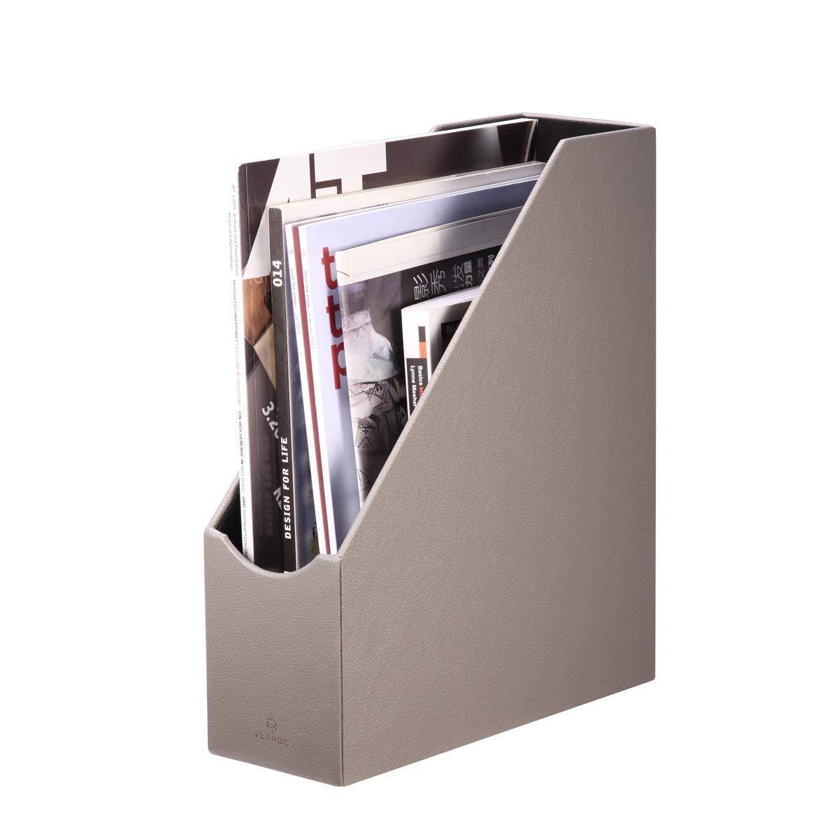 Vlando VPACK Magazine File Organizer Holder - Office PU Leather Desk Organizer Collection, Assorted Color (Pebble Grey)