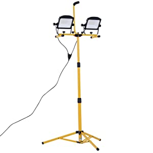 HOMCOM 10000 Lumen Dual Head Weather Resistant LED Work Lights with Tripod Stand