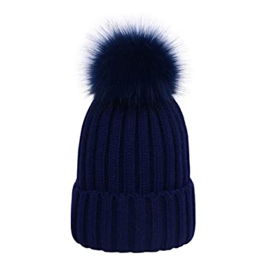 Laus Gorros tejidos de invierno para mujer gorros de punto de canalé con pompón de piel