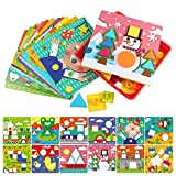 AMOSTING Early Learning Educational Button Art Toys for Toddler, Color & Geometry Shape Matching Mosaic Puzzle Peg Board Games for preschool kids
