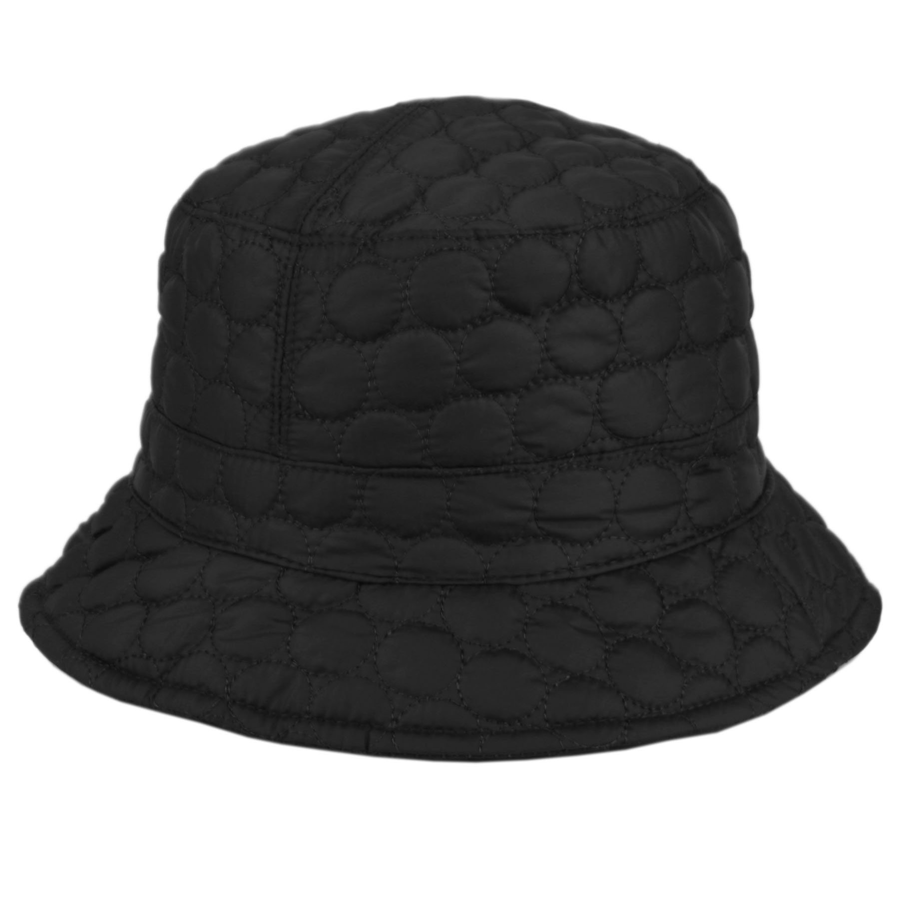 CL2396 Foldable Water Repellent Quilted Rain Hat w/ Adjustable Drawstring, Bucket Hat (BLACK)
