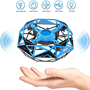 Remoukia Hand Operated Drones Toys for Kids or Adults - Mini Drones Hand Controlled Flying Ball Drone for Boys and Girls Motion Sensor Helicopter Gift (Blue)