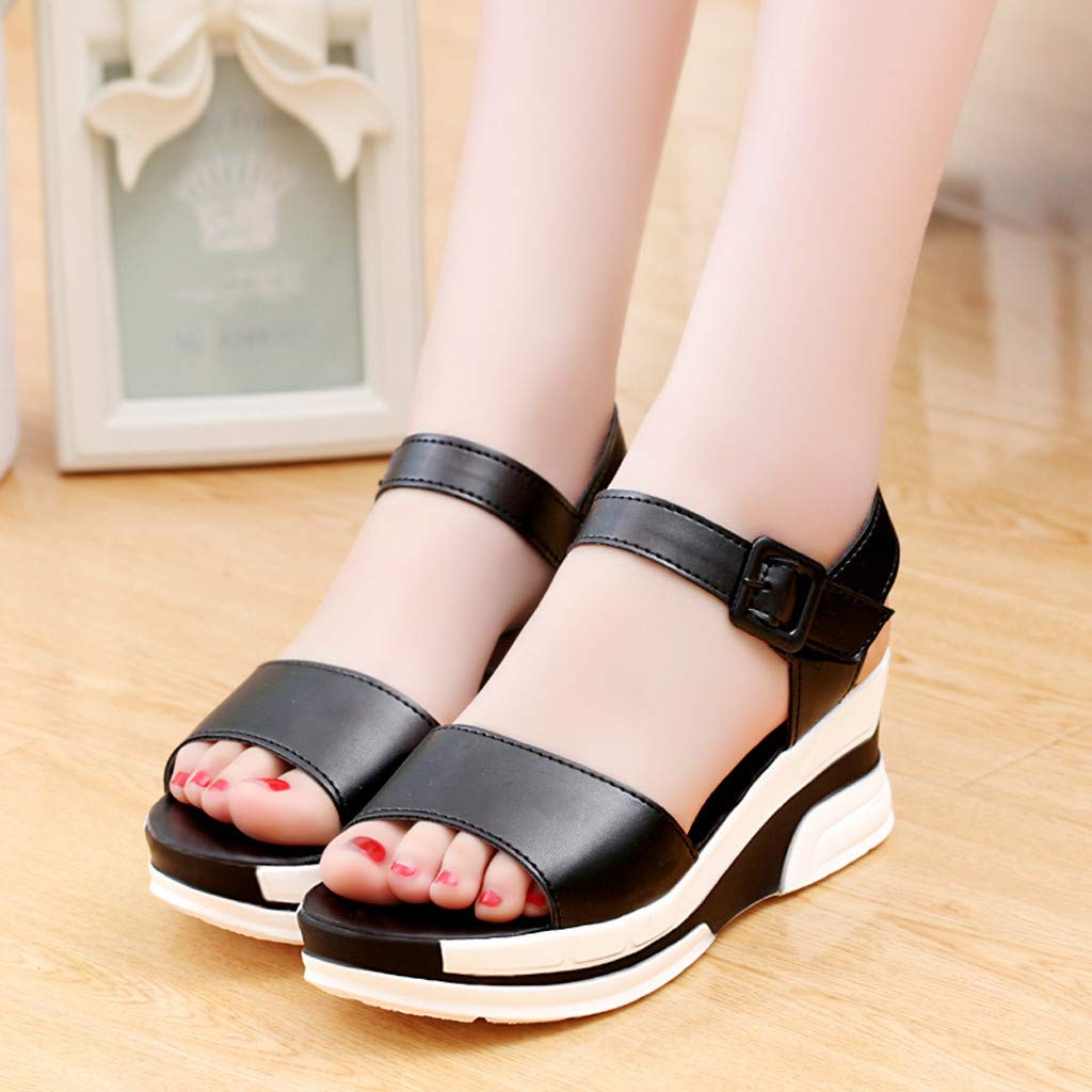 Thenxin Summer Solid Heel Sandals with Flat-Bottomed Muffin Platform Women Shoes for Work (Black,7 US) by Thenxin (Image #3)