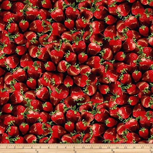 Timeless Treasures Sugar Rush Chocolate Covered Strawberries Strawberry Fabric By The Yard