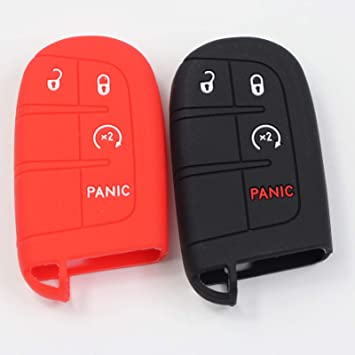Llaves del coche de Silicona Funda protectora rojo para chrysler dodge jeep 2t