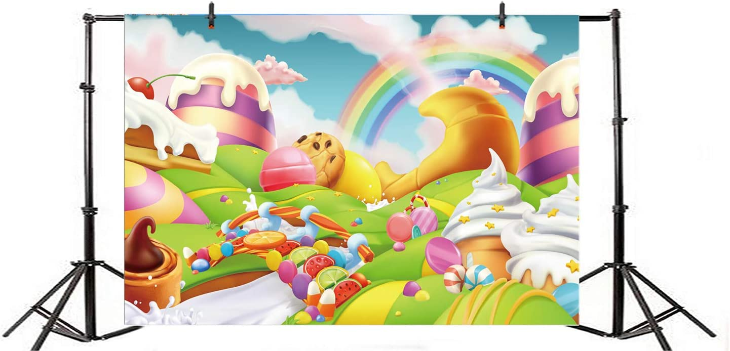 Amazon Com Lfeey 10x7ft Candyland Photo Booth Backdrop Candy