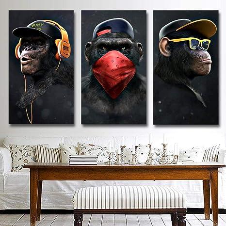 Rudxa Animal Image Toile Imprime Peinture Drole Pensee Singe Mur Art Affiche Pour Salon Decor A La Maison 40x80 Cm X 3 Pcs Sans Cadre Amazon Fr Cuisine Maison