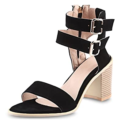 8f1b8938c6ec6 EbuyChX Simple Buckle Strap and Suede Design Sandals for Women Black 34
