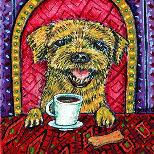 Border Terrier coffee cafe Dog art tile coaster gift
