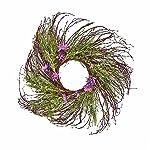 "Silk Flower Arrangements Worth Imports 26"" Twig Wreath with Faux Grass & Wildflower"