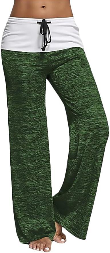 Pantalon Mujer Cintura Alta Cordon Casual Clasico Especial Yoga Pantalones Palazos Moda Pierna Ancha Pantalon Pantalon Yoga Jogging Deportivos Amazon Es Ropa Y Accesorios
