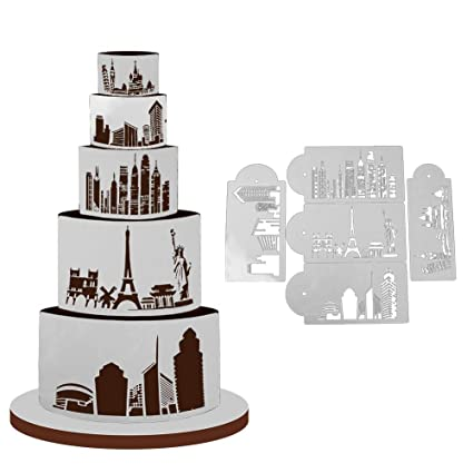 Amazon Com 1 Set 5pcs Landmark Pisa Stencil Set Wedding Cake