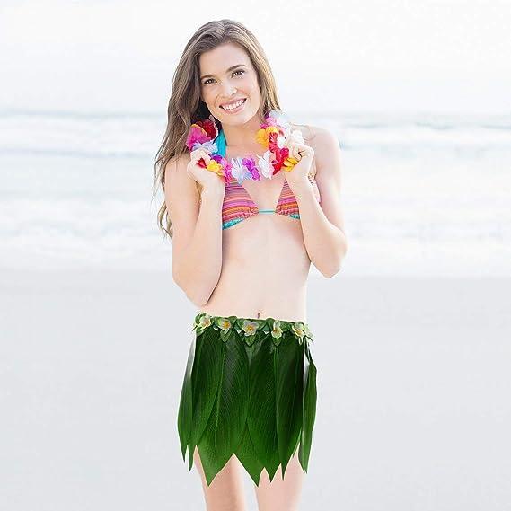 Fiesta Hawaiana de simulación Falda de Hoja Adulto Hawaiano Hula ...