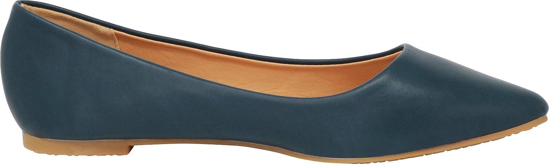 Cambridge Select Women's Classic Closed Pointed Toe Slip On Ballet Flat B07D83C341 7.5 B(M) US|Navy Pu