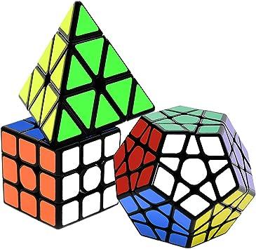 lunaoo Speed Cube Set Magic Cube 3 Piezas 3x3 Pyraminx Megaminx, Cubo Magico Puzzle 3D Rompecabezas Regalos de Juguetes para Niños y Adultos: Amazon.es: Juguetes y juegos