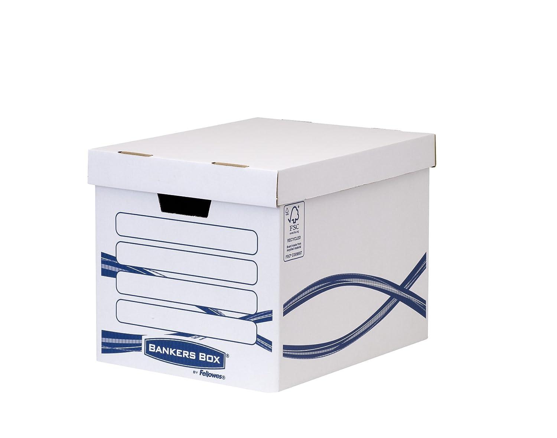 Bankers Box Basic Große Archivbox (100% recycled) 10 Stück weiß/blau Fellowes 4461001