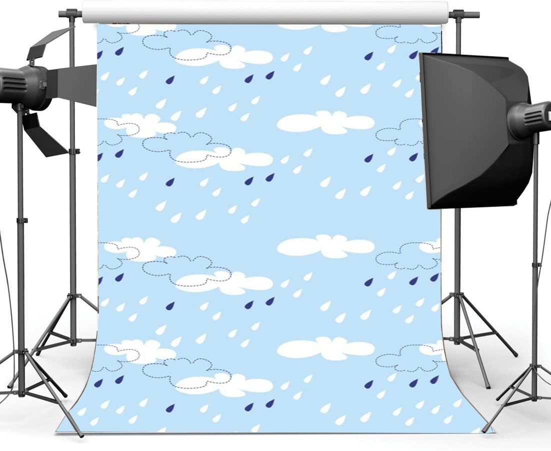 8x12 FT Hello Summer Vinyl Photography Backdrop,Vintage Curvy Cloud Across The Sky with Shades of Blue Background for Baby Shower Bridal Wedding Studio Photography Pictures