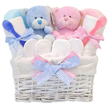 d614dc7c1682a Angel Baby Boy and Girl Twins Gift Basket Hamper ⼁New Born Baby Shower Gifts  Sets