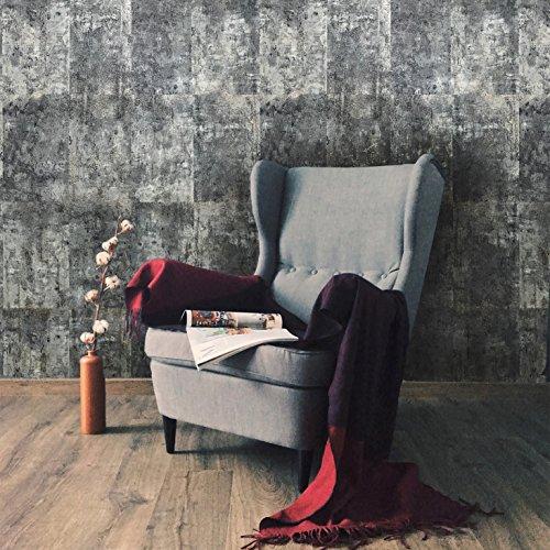 10m Slavyanski vinyl wallpaper rolls gray blue silver metallic modern rust rustic faux tiles stone malachite wall paper coverings textured pattern double roll wallcovering textures embossed (Rustic Tile Wallpaper)