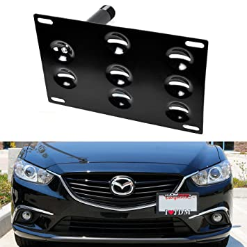 Amazon ijdmtoy jdm style front bumper tow hole adapter ijdmtoy jdm style front bumper tow hole adapter license plate mounting bracket for 2014 up publicscrutiny Image collections