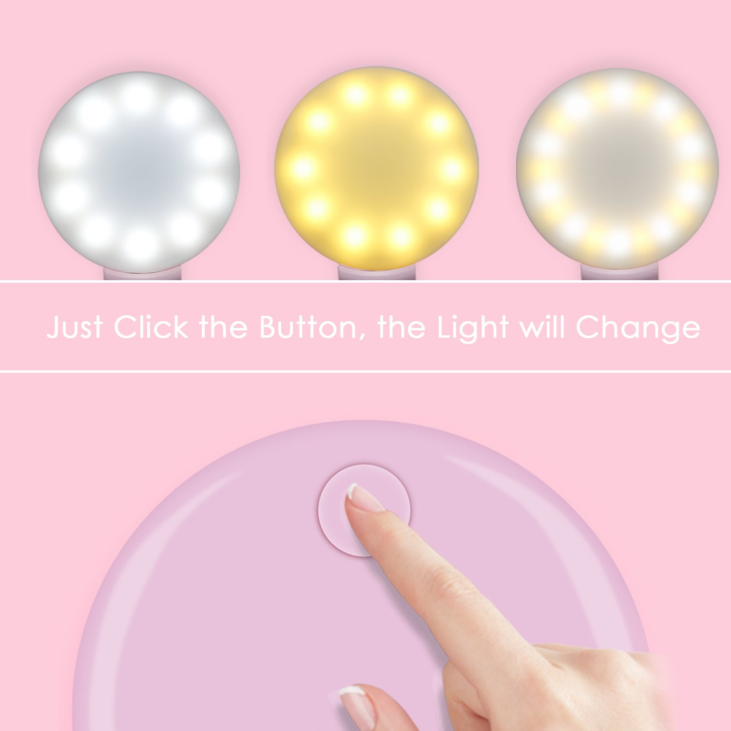 Selfie Ring Light, Clip-on Selfie Light with USB Charging Cable, Warm and Cold LEDs, for Smartphone Tablet Laptop-White (Pink)