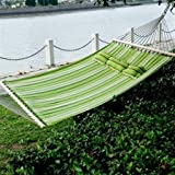 Outsunny  Double Wide Outdoor Patio Cotton Hammock Swing Bed with Pillow,  83 x 55-Inch,  Green/Blue