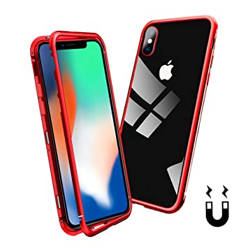 44fd548912 iPhone XR スマホケース マグネット アイフォンケース 金属フレーム 透明な強化ガラスケース [超薄