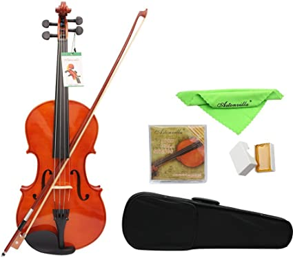 Bow Cecilio CVA-400 Solid Wood Viola with Tuner Rosin Bridge and Strings Size 16-Inch Case