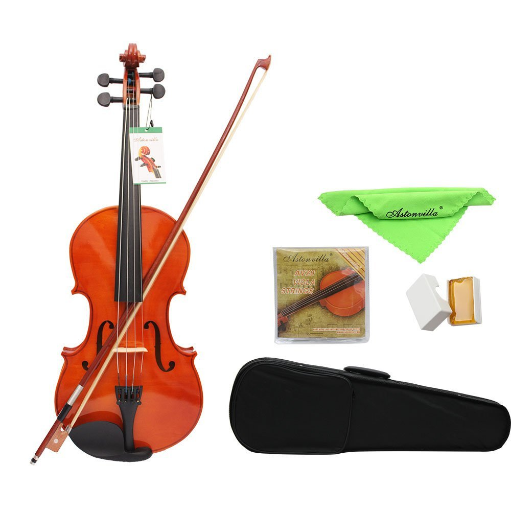 ammoon Full Size Solid Maple Viola with Case Bow Bridge Rosin and Strings