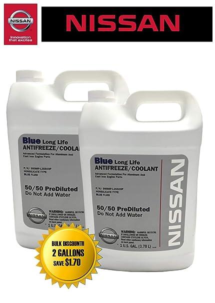 amazon com nissan genuine fluid 999mp l25500p blue long lifenissan genuine fluid 999mp l25500p blue long life antifreeze coolant 2 gallons