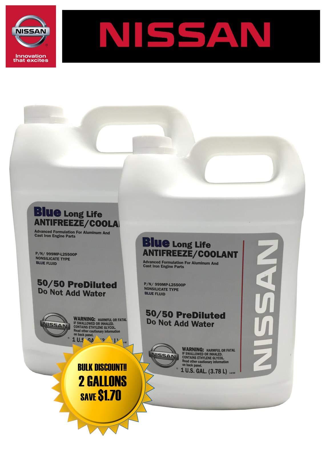 Nissan Genuine Fluid 999MP-L25500P Blue Long Life Antifreeze/Coolant - 2 Gallons